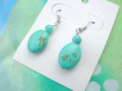 wholesale turquoise earring with oval beads