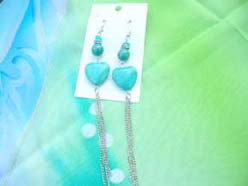 genuine turquoise chadlier earring with heart beads and silver chain tassel