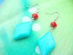 Diamond Shape Charm Turquoise Gemstone Da Earrings