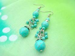 Round Ball Turquoise Bead Silver Earrings