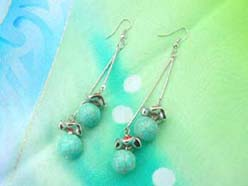 natural turquoise stone round beads dangle earrings hook