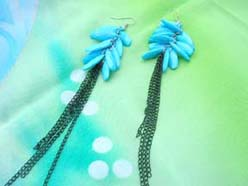 dangle black chains turquoise earring