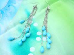 Turquoise earrings wholesale-raindrop beads with Tibelver style