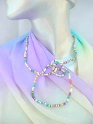 Twistable, Bendable, Knottable Necklaces / Bracelets, silver tone and multiple color beads