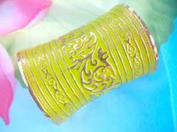 green and gold color extreme wide bracelet cuff in bohemian style
