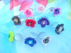 fimo flower open adjustable rings