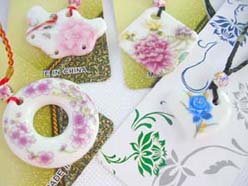 handmade handpainted ceramic pendant necklaces assortment