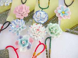handmade handpainted ceramic pendant necklaces floral design assortment