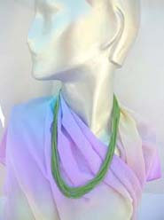 long solid color necklaces, green, blue