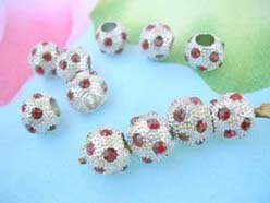 Alloy Red Crystal Rhinestone Disco Pave Ball Bead Fits DIY Pandora Style Bracelet