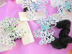butterfly design rhinestone crystal hair ties, scruns for hair