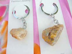 keyrings with natural semi precious stone pendant