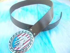 American flat and skeleton hand belt
