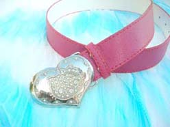 Pinky fashion belt with cz heart and cat design