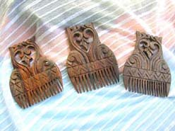 Bali handcraft engraved natural wooden comb