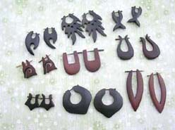 Quality handcraft wooden bali pin earring