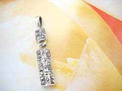 Handcrafted in 925. sterling silver rectangular marcasite stone pendant
