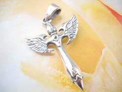 Fine 925. sterling silver fashion cross with wings pendant