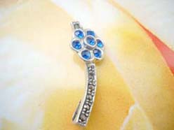 Marcasite stone long pendant with blue cz flower, genius 925. sterling silver pendant