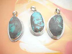 Turquoise gemstone in assorted shape, 925. sterling silver mounting pendant