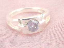 Collectible stamped 925 sterling silver purple rhinestone with square shape ring