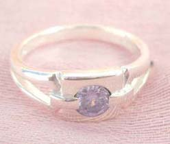 Favorite 925. stamped silver ring motif square shape holding purple cz design